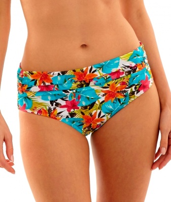 Panache Leila Mid Rise Gathered Bikini Brief - Tropical