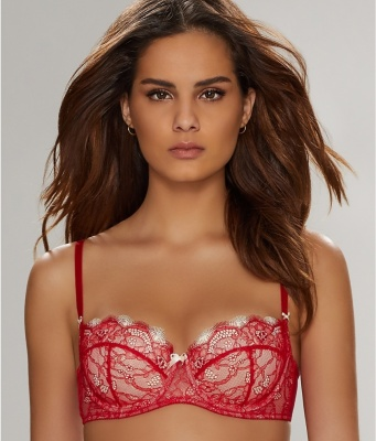 B.Tempt'd B.Sultry Padded Balcony Bra - Red/Vanilla Ice
