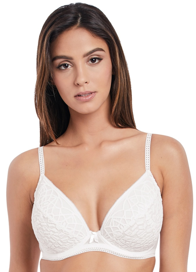 Freya Soiree Lace Padded Plunge Bra - White