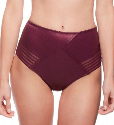 Panache Black Etta High Waist Brief - Wine